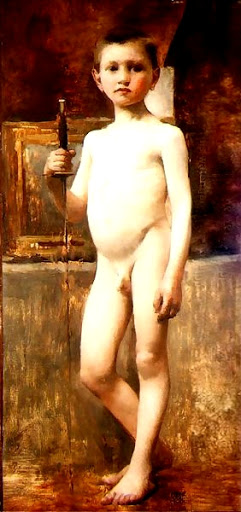 von Stuck - 'Nude Boy with a Sword'